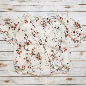 Red + White Floral Surplice Crop Top